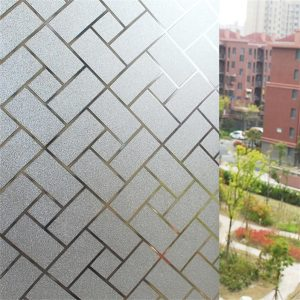Static Cling Non-Adhesive Frosted Lattice Privacy Window Film Decorative Glass Film-02