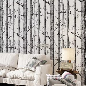 Black And White Birch Tree Forest Removable Wallpaper Bedroom Living Room TV Background Wall Decor-01